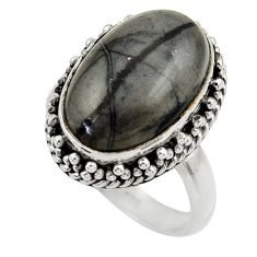 7.24cts natural black picasso jasper 925 silver solitaire ring size 7 r28422