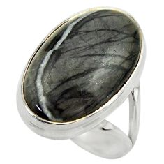 16.76cts natural black picasso jasper 925 silver solitaire ring size 7 r28434