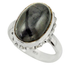 6.53cts natural black picasso jasper 925 silver solitaire ring size 7 r28436