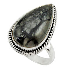 14.70cts natural black picasso jasper 925 silver solitaire ring size 9 r28431