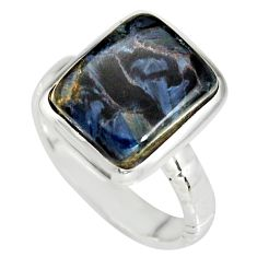 5.30cts natural black pietersite (african) silver solitaire ring size 8 r19002