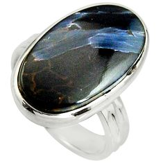 12.34cts natural black pietersite (african) silver solitaire ring size 8 r25010
