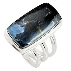 11.37cts natural black pietersite 925 silver solitaire ring size 6 r25008