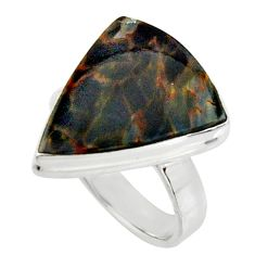 10.81cts natural black pietersite 925 silver solitaire ring size 7 r25001