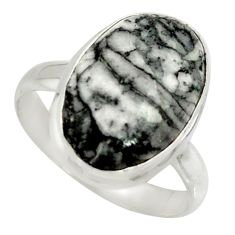 10.37cts natural black pinolith 925 silver solitaire ring jewelry size 10 r39330