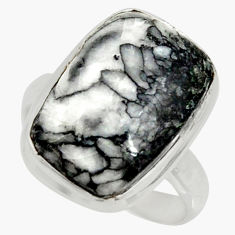 12.07cts natural black pinolith 925 silver solitaire ring size 7.5 r39321