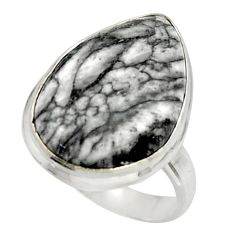 13.66cts natural black pinolith 925 sterling silver ring jewelry size 6.5 r42848
