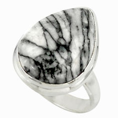 14.10cts natural black pinolith 925 sterling silver ring jewelry size 6.5 r42851