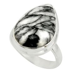 9.58cts natural black pinolith 925 sterling silver ring jewelry size 5.5 r42854