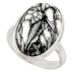 13.78cts natural black pinolith 925 sterling silver ring jewelry size 7.5 r42860