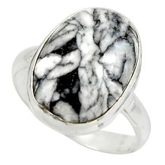 14.15cts natural black pinolith 925 sterling silver ring jewelry size 10 r42843