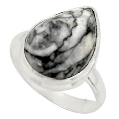 13.75cts natural black pinolith 925 sterling silver ring jewelry size 10 r42844
