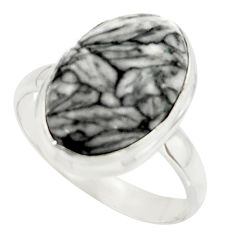 10.24cts natural black pinolith 925 sterling silver ring jewelry size 10 r42846