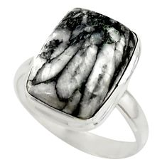 10.55cts natural black pinolith 925 sterling silver ring jewelry size 10 r42858
