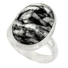 9.76cts natural black pinolith 925 sterling silver ring jewelry size 6 r42852