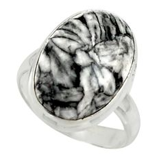 8.57cts natural black pinolith 925 sterling silver ring jewelry size 6 r42856