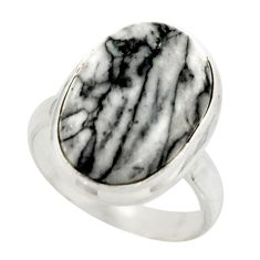 9.58cts natural black pinolith 925 sterling silver ring jewelry size 6 r42859