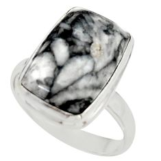 9.71cts natural black pinolith 925 sterling silver ring jewelry size 9 r42847