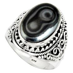 10.16cts natural black psilomelane 925 silver solitaire ring size 8.5 r22553