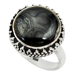 14.12cts natural black psilomelane 925 silver solitaire ring size 8.5 r28047