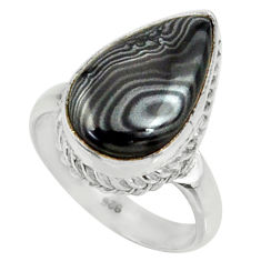 6.53cts natural black psilomelane 925 silver solitaire ring size 6.5 r28051