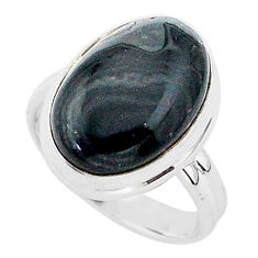 9.83cts natural black psilomelane 925 silver solitaire ring size 6.5 r95662