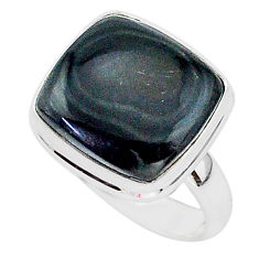 14.07cts natural black psilomelane 925 silver solitaire ring size 8.5 r95674