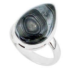 10.70cts natural black psilomelane 925 silver solitaire ring size 7.5 r95682
