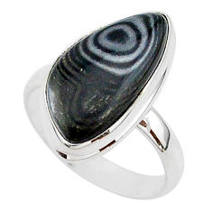 9.25cts natural black psilomelane 925 silver solitaire ring size 9.5 r95686