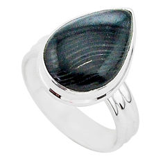 6.95cts natural black psilomelane 925 silver solitaire ring size 6.5 r95701