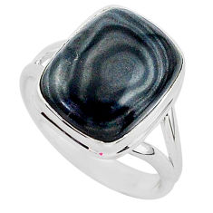 9.33cts natural black psilomelane 925 silver solitaire ring size 10 r95708