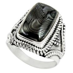 7.72cts natural black psilomelane 925 silver solitaire ring size 7 r22554