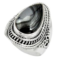 11.05cts natural black psilomelane 925 silver solitaire ring size 7 r22558