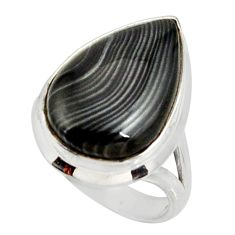 13.71cts natural black psilomelane 925 silver solitaire ring size 7 r28041