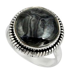 12.07cts natural black psilomelane 925 silver solitaire ring size 7 r28058