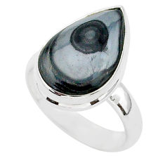 8.39cts natural black psilomelane 925 silver solitaire ring size 7 r95671