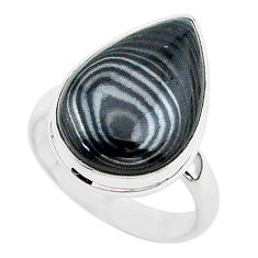9.55cts natural black psilomelane 925 silver solitaire ring size 7 r95681
