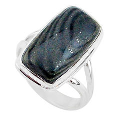 11.13cts natural black psilomelane 925 silver solitaire ring size 7 r95683