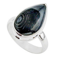7.32cts natural black psilomelane 925 silver solitaire ring size 7 r95697