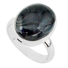 9.57cts natural black psilomelane 925 silver solitaire ring size 7 r95706