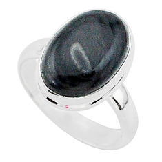 6.34cts natural black psilomelane 925 silver solitaire ring size 7 r95711