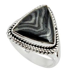 10.69cts natural black psilomelane 925 silver solitaire ring size 8 r28052
