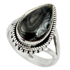 9.13cts natural black psilomelane 925 silver solitaire ring size 8 r28054