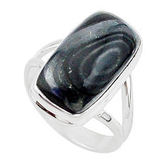 10.30cts natural black psilomelane 925 silver solitaire ring size 8 r95691