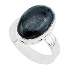 7.30cts natural black psilomelane 925 silver solitaire ring size 8 r95692