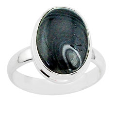 7.30cts natural black psilomelane 925 silver solitaire ring size 8 r95703