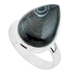 10.05cts natural black psilomelane 925 silver solitaire ring size 8 r95718