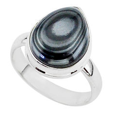 6.55cts natural black psilomelane 925 silver solitaire ring size 8 r95728