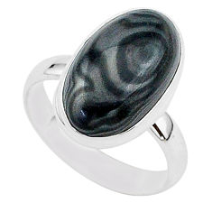 8.46cts natural black psilomelane 925 silver solitaire ring size 8 r95753