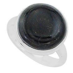 12.56cts natural black psilomelane 925 silver solitaire ring size 8 r95785